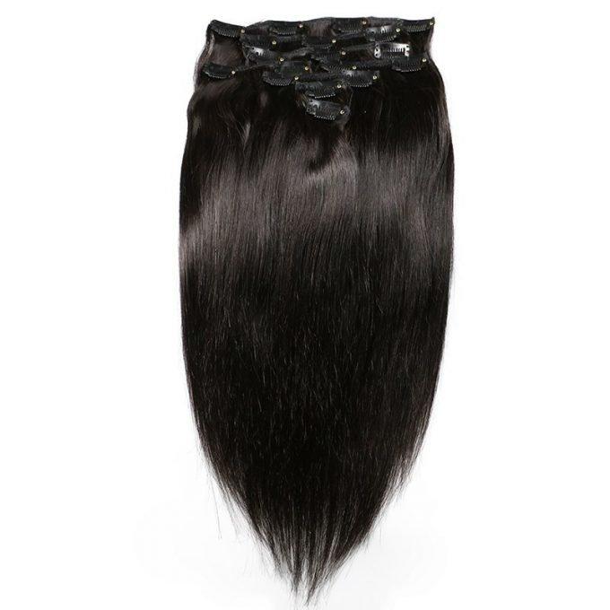 Haar-Clip-In-Menselijk-Haarverlenging-Natuurlijke-Kleur-8-stuks-Set-Braziliaanse-Straight-Remy-Haar-Volledige